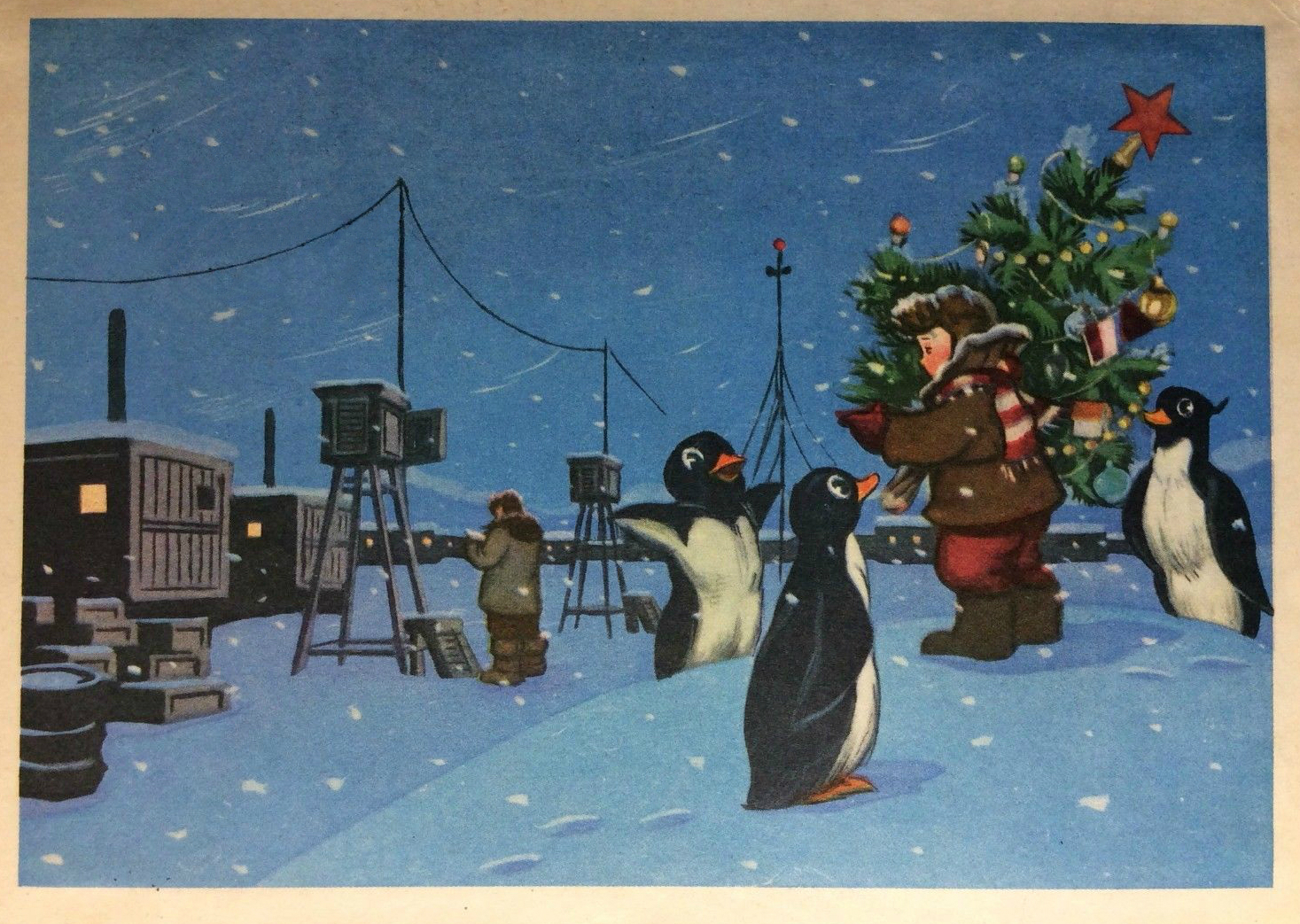 Новогодняя открытка с пингвином, собачек прикольные