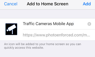 Add Traffic Cameras Mobile App to Home Screen