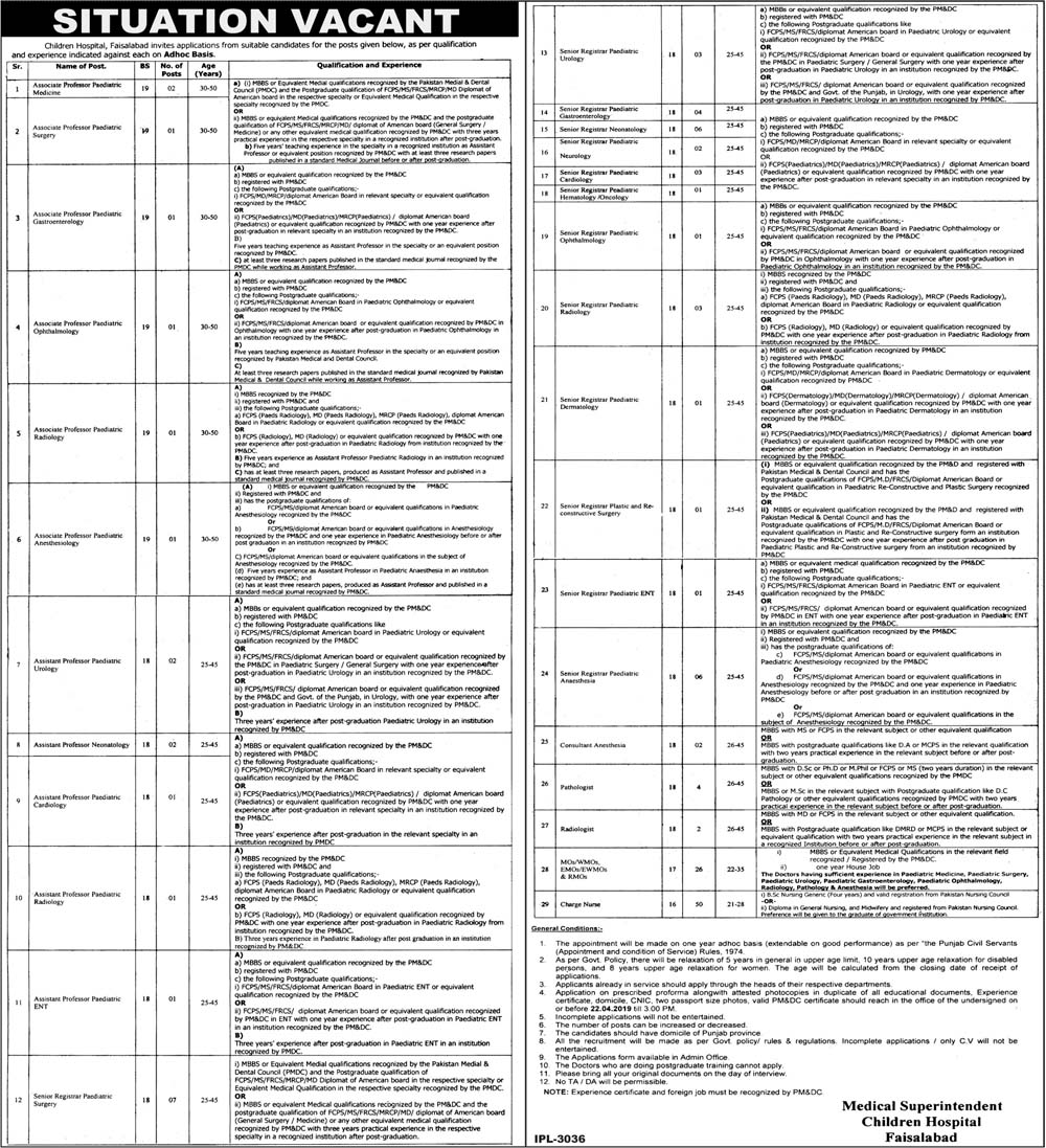 Jobs In Children Hospital Faisalabad 10 Apr 2019