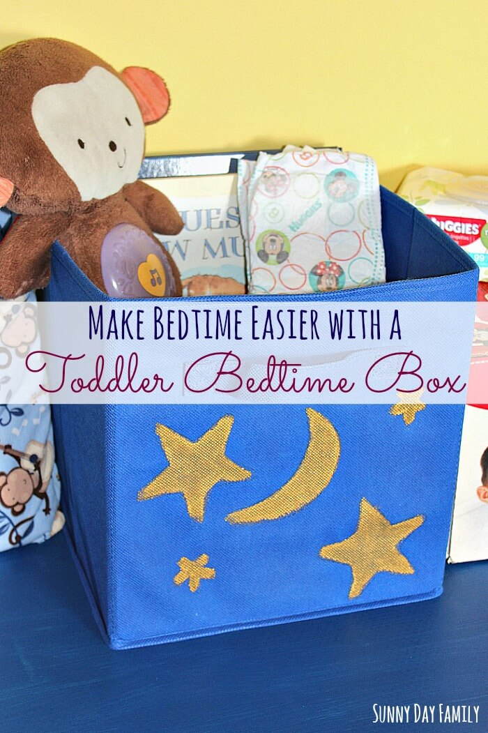 Need help with your toddler bedtime routine? Try making a Toddler Bedtime Box! This easy DIY project will help reinforce your night time routine and help you toddler prepare for bedtime without arguing.