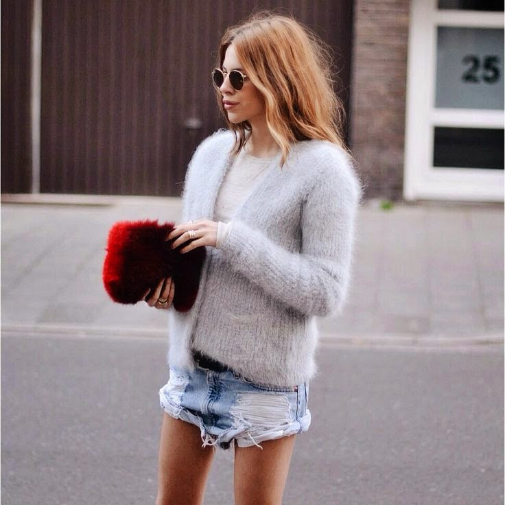 Maja Wyh Fuzzy Grey Cardigan Distressed Denim Shorts