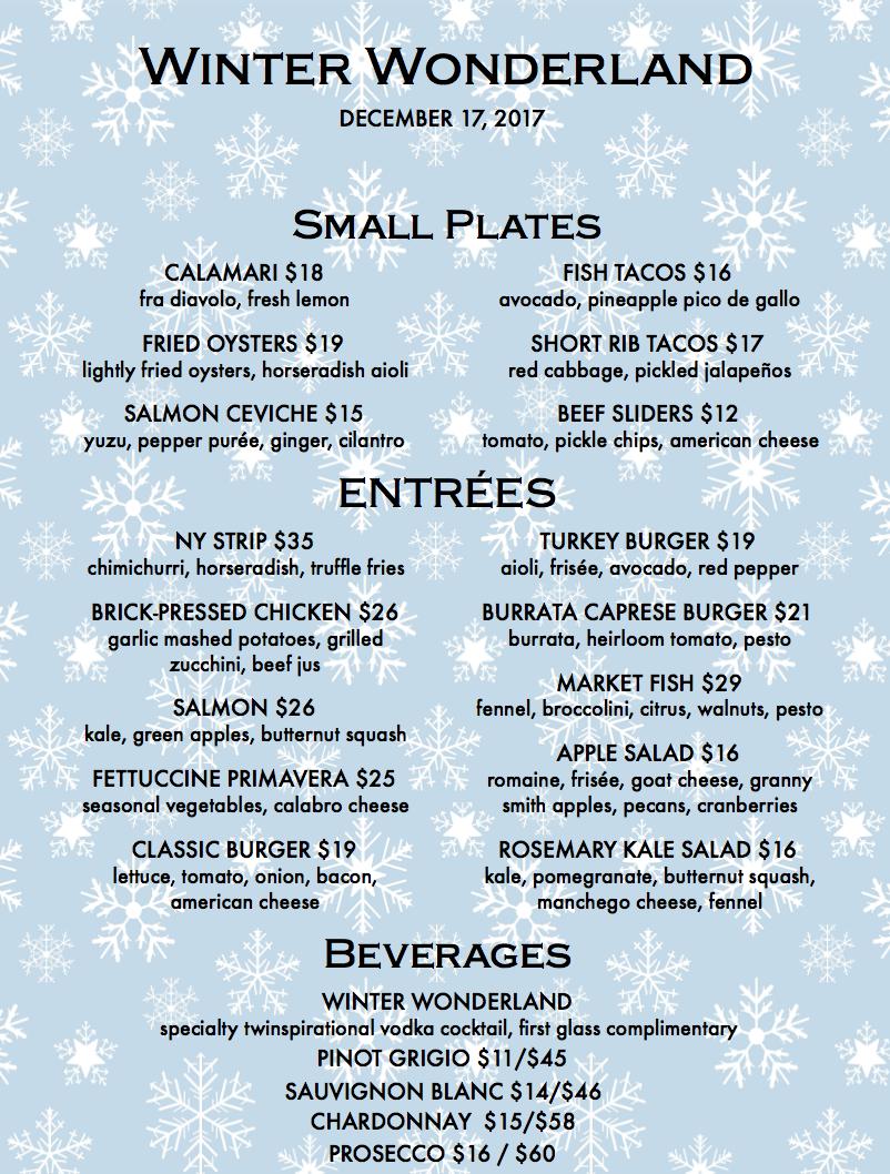 winter wonderland menu