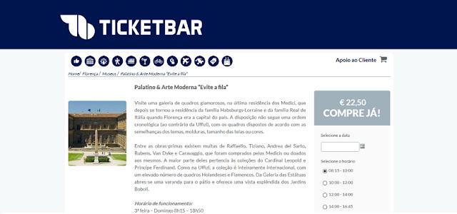 Ticketbar para ingressos para o Evite Fila no Palatino & Arte Moderna em Florença