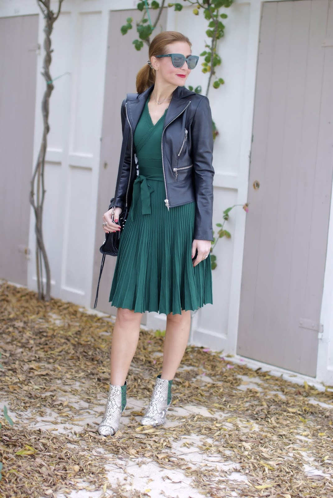 Metisu wrap neckline dress and python ankle boots on Fashion and Cookies fashion blog, fashion blogger style