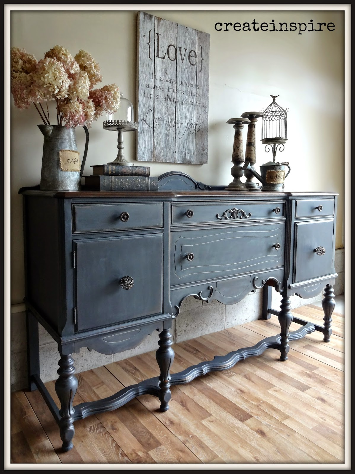 Createinspire Antique Buffet In Ash Fusion Mineral Paint