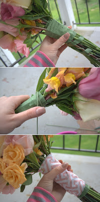 patterned wrap wedding bouquet