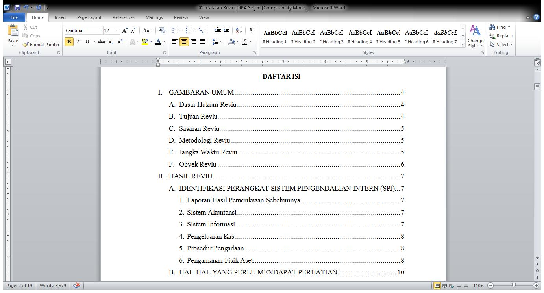 Cara Bikin Daftar Isi Otomatis Di Ms Word