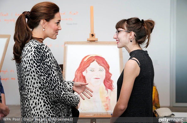 Catherine, Duchess of Cambridge talks with an art student at the Turner Contemporary gallery on March 11, 2015 in Margate, England.