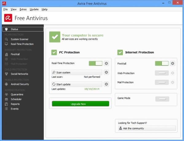 واجهة برنامج Avira Free Antivirus