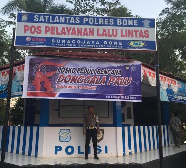 Polantas Polres Bone Dirikan Posko Peduli Bencana Donggala-Palu