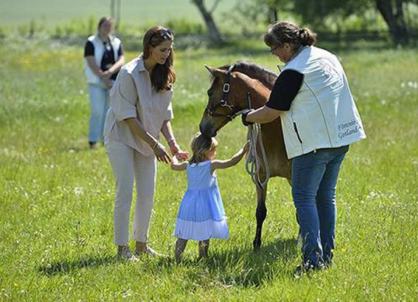 Swedish Princess Madeleine and Prince Nicolas. Princess Leonore met Heidi the foal who was a christening gift at Gotland