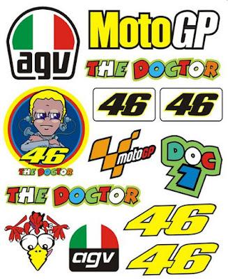 Gambar Stiker Motor Lucu Keren Terbaru Stripping Valentino Rossi VR46