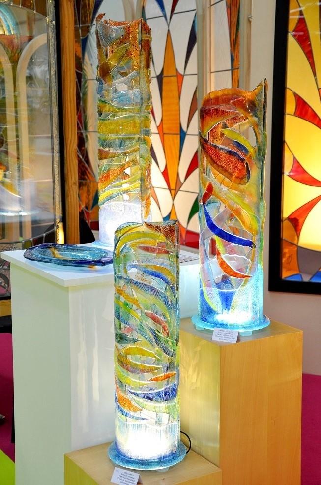 Fusing, sculpture lumière, verre de couleur
