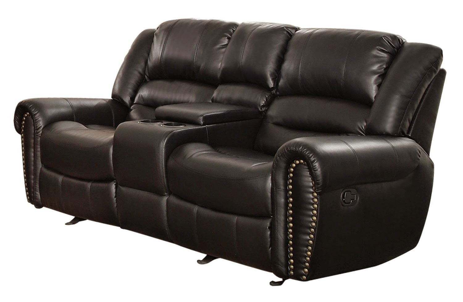 Low Back Loveseat. Milano Blue Leather Power Plus