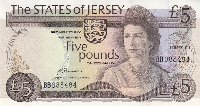 Foreign currency offshore bank Jersey 5 Pounds