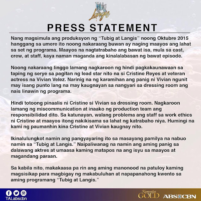 ABS-CBN releases official statement on Vivian Velez-Cristine Reyes feud
