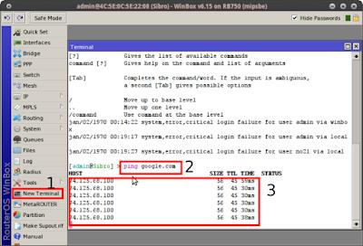 New Terminal > [login mikrotik] > ping google.com