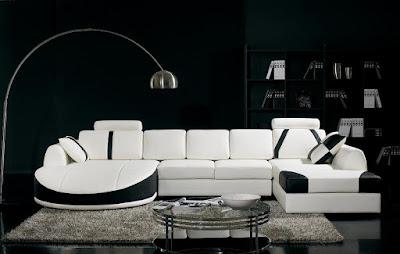 แบบห้องรับแขกสีขาว ดำโซฟาขนาดใหญ่