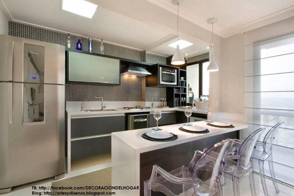 Dise o de cocinas con barras originales y funcionales for Disenos de cocinas pequenas con barra