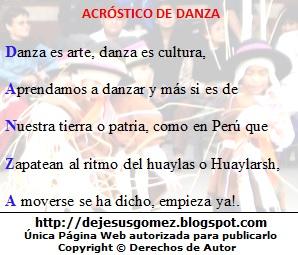 Imagen de fondo con acróstico de Danza de Jesus Gómez