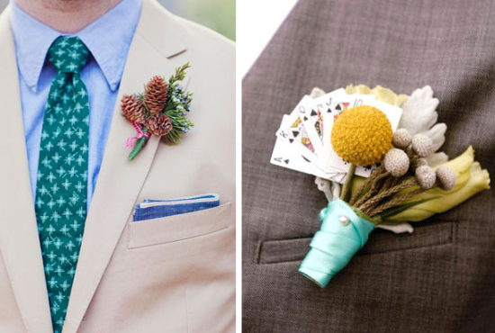 Alternative boutonnieres, groom