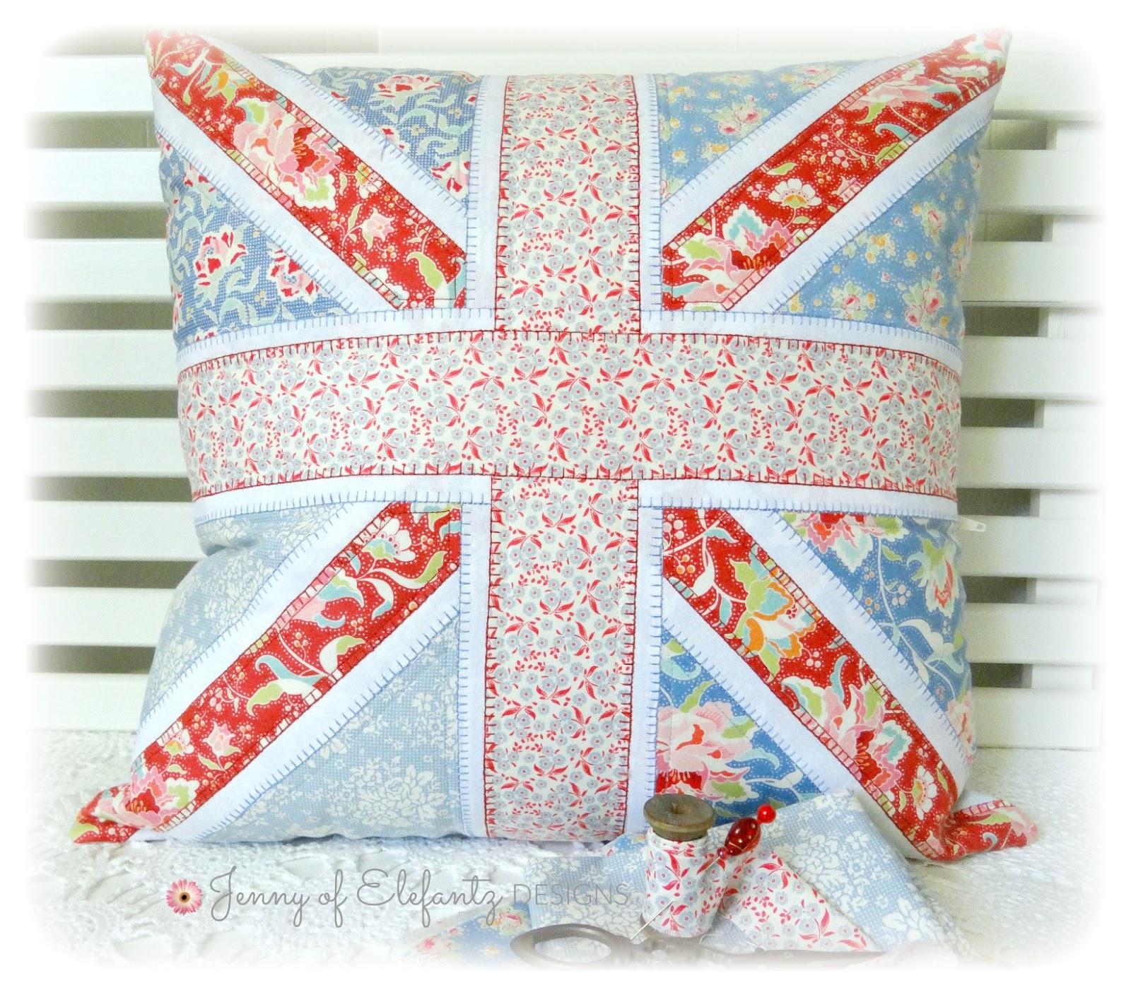 Jenny of ELEFANTZ: Free pattern!! Sew a Union Jack pillow