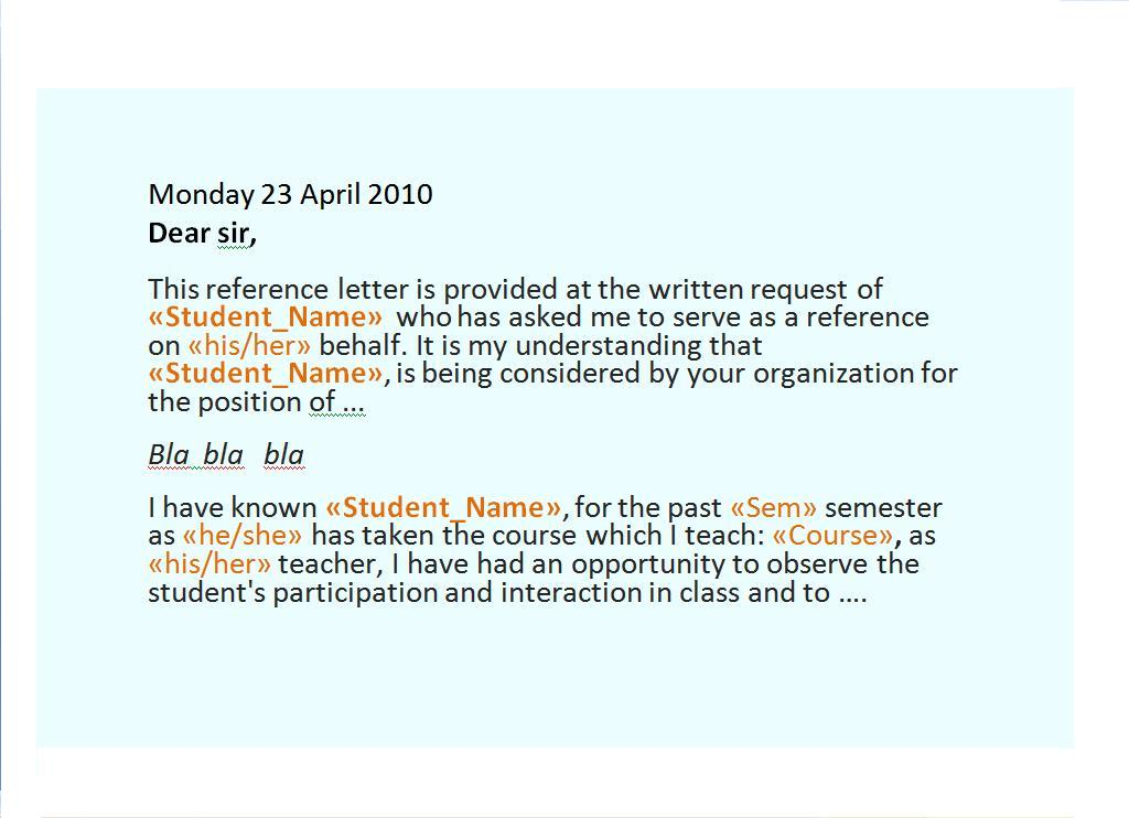 Mail Merge Letter Service Mail Merge Recommendation Letter