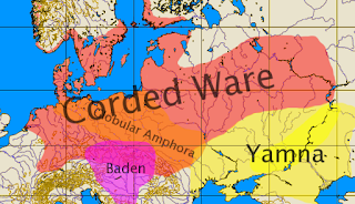 Corded War and Yamna culture area