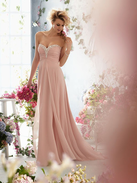 Sheath/Column Sweetheart Sleeveless Chiffon Evening Dresses With Beaded #BK296
