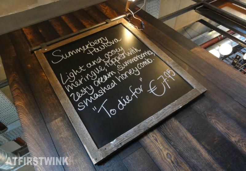Jamie's Italian Markthal chalkboard daily special summerberry pavlova