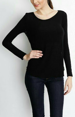 baju UNIQLO MIXED BLOUSE - Black