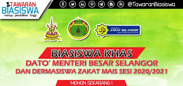 Permohonan Biasiswa Khas Dato' Menteri Besar Selangor & Dermasiswa Zakat MAIS (Mesir & Jordan) Sesi 2020/2021