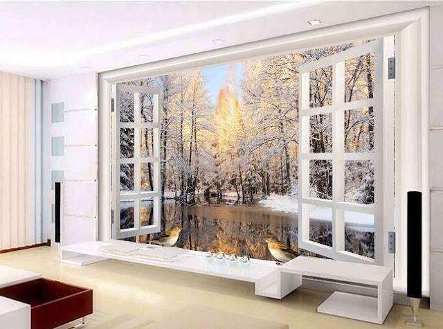 fönster tapet vinter landskap natur tapet fototapet som ser ut som fönster 3d effekt
