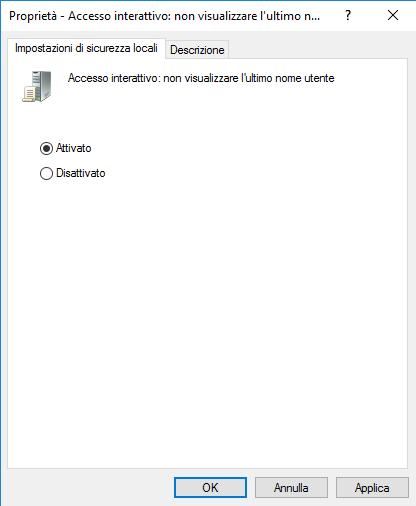 Accesso interattivo: non visualizzare l'ultimo nome utente