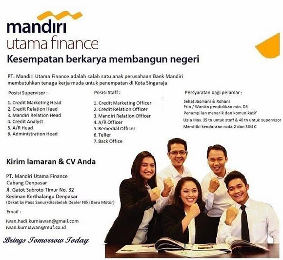 13 Lowongan Kerja Bank Mandiri Finance