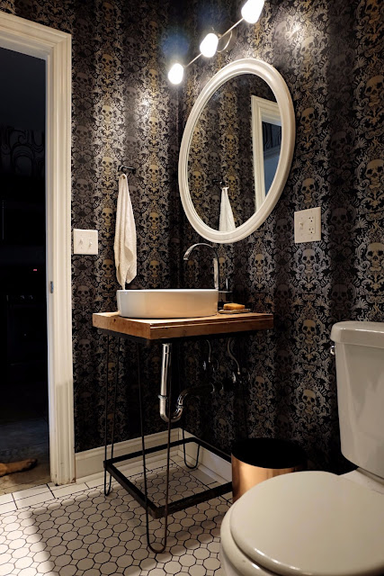 gold silver black skull wallpaper bathroom redesign