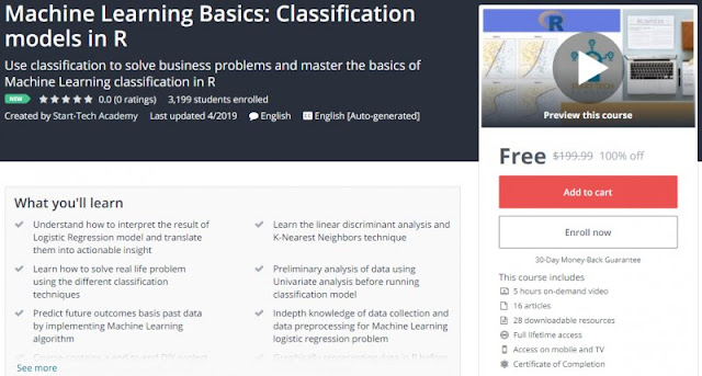 [100% Off] Machine Learning Basics: Classification models in R| Worth 199,99$