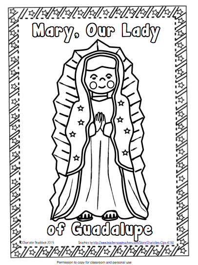Classroom Freebies: Free Our Lady of Guadalupe Coloring Page