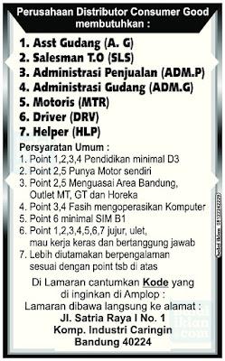 Lowongan Kerja Komp. Industri Caringin Bandung