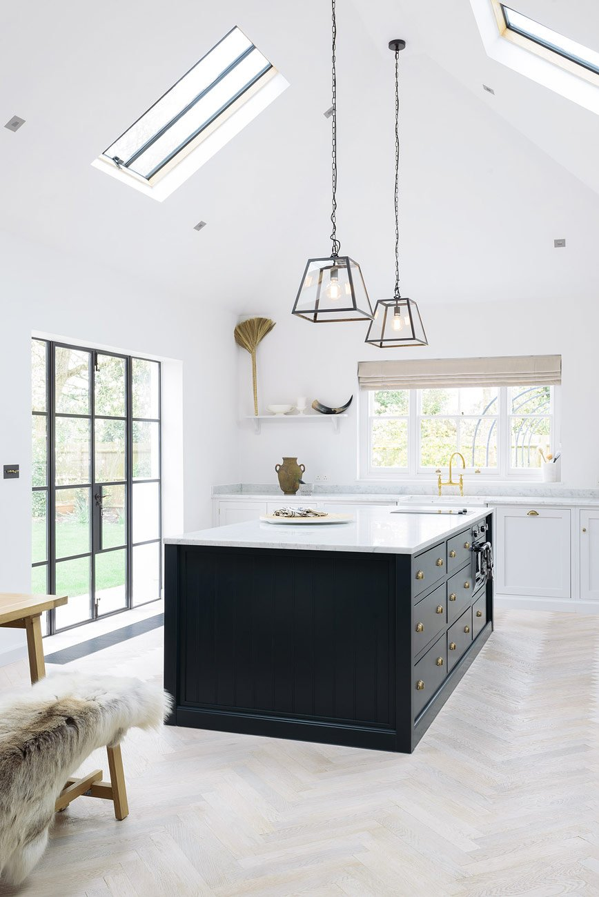 Minimal Modern Farmhouse Kitchen With Shaker Cabinets, High Ceilings And  Modern Lighting   Found On ...