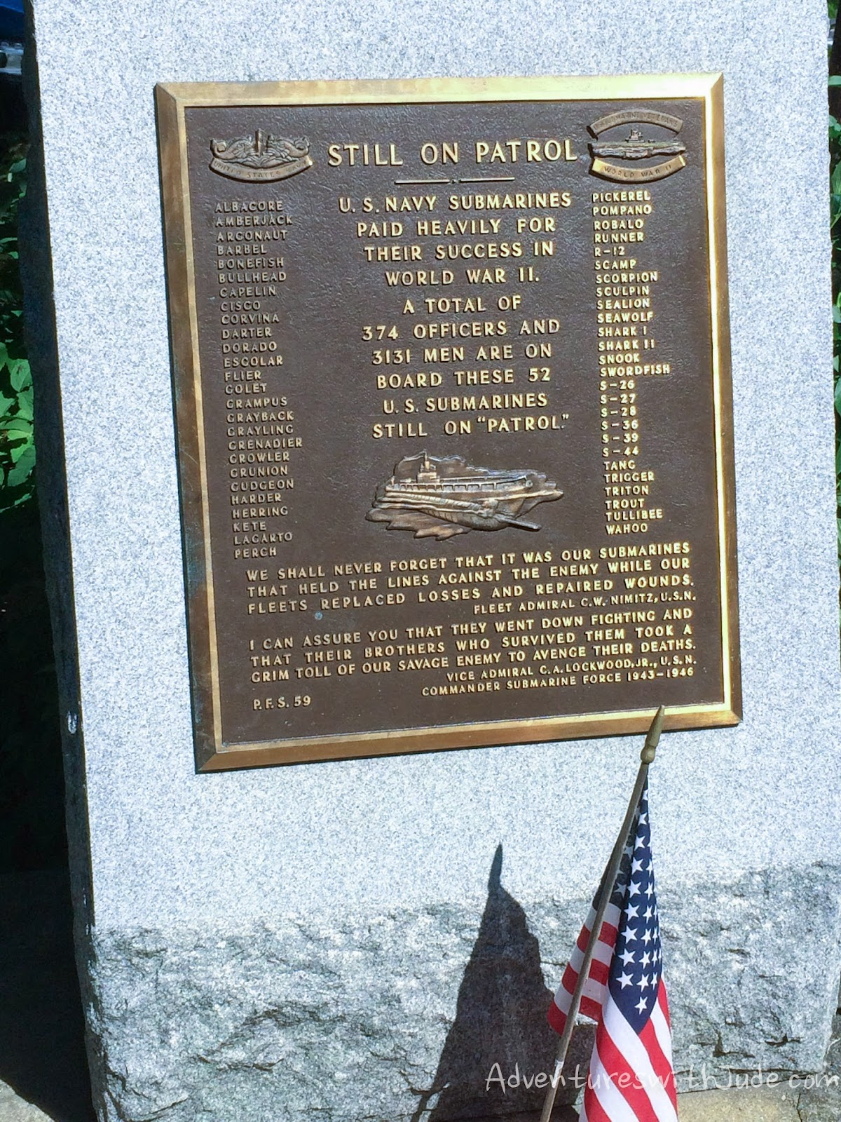 WWII submarines lost memorial