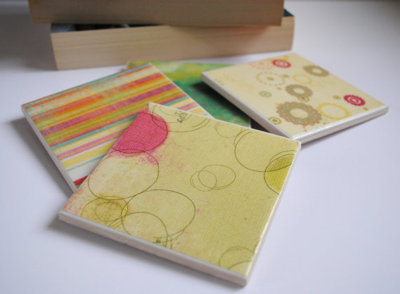 Set of 4 Handmade Multi-Coloured Tile Coasters. Avaialble on my Etsy Store pulltheotherthread