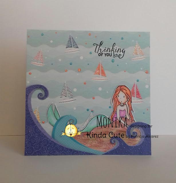 Mermaid digital stamp in a handmade card