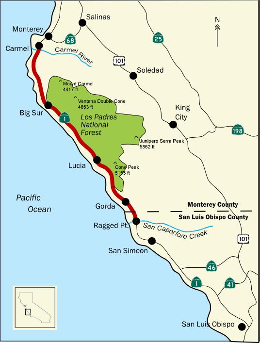 Mapa Big Sur