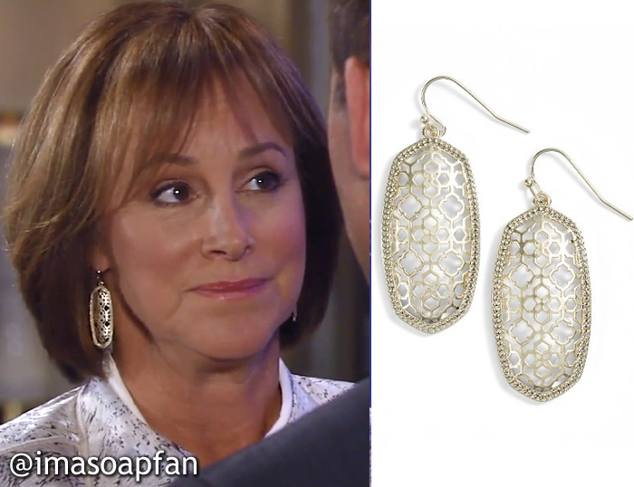 Nora Buchanan, Hillary B. Smith, Gold Openwork Drop Earrings, Kendra Scott, GH, General Hospital