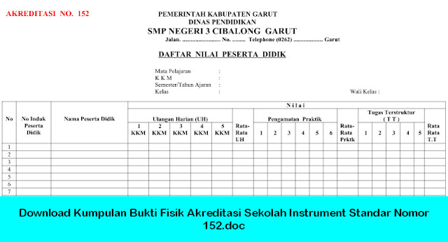 Download Kumpulan Bukti Fisik Akreditasi Sekolah Instrument Standar Nomor 152.doc