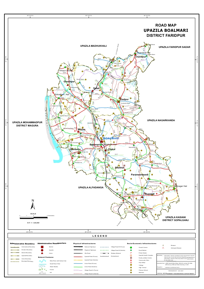 Boalmari Upazila Road Map Faridpur District Bangladesh