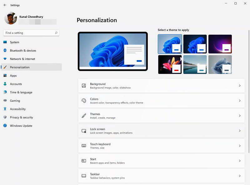 A quick look to Windows 11 Settings app - Personalization