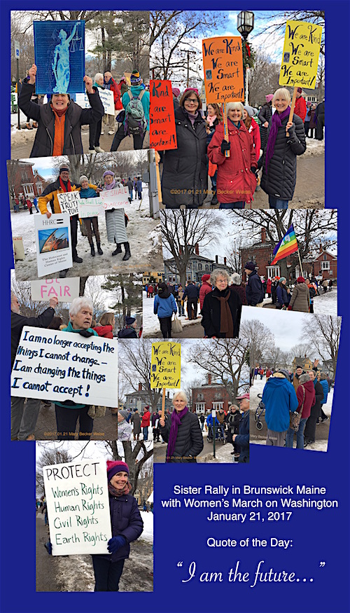 Sister Rally in Brunswick Maine with Women's March on Washington : Mary Becker Weiss Photos