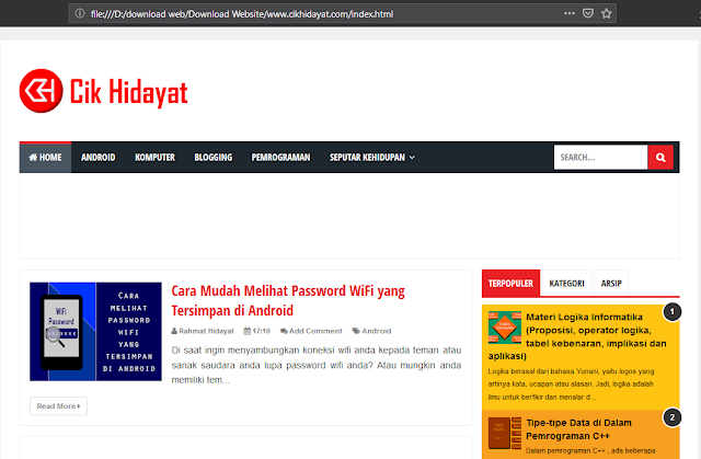 HTTrack web hasil download